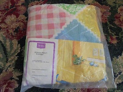NEW NOS Cannon Double size bedskirt bed skirt patchwork prt strawberry pink chic