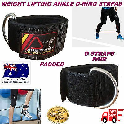 Austodex Weight Lifting D-Ring Pulley Cable Ankle Attachment Gym Leg Strap pair