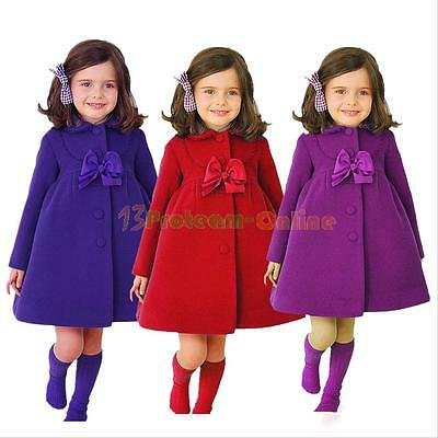 Winter Baby Kids Girls Clothes Outerwear Warm Wool  Trench Coat Jacket Fashion