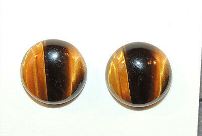Tiger's Eye 14mm Round with 5.5mm dome Cabochons Set of 2 (9783)