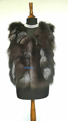 Silver Fox Fur Vest Gilet Waistcoat BodyWarmer GENUINE UK SELLER