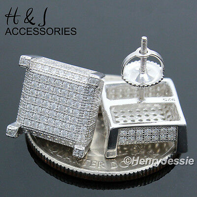 Men 925 Sterling Silver 11X11Mm Iced Out Screw Back 3D Square Stud Earring*e85