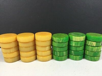 Bakelite Backgammon Pieces 30 Piece Set Butterscotch And Green Tested