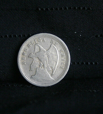 1923 10 Centavos Chile World Coin Condor KM166 10 cents