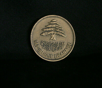 25 Piastres 1961 Lebanon World Coin KM16.2  Cedar tree