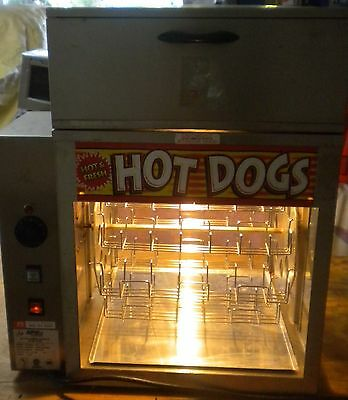Apw Wyott Dr-2A Commercial  Hot Dog Rotisserie Cooker With Bun Steamer