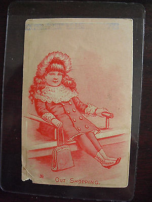 Vintage 1890s VTC Enterprise Roasted Coffee Girl Out Shopping Card