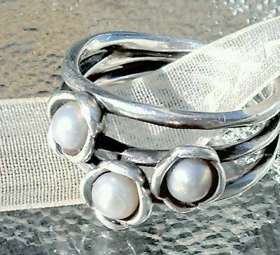 Authentic Pandora THREE WISHES Sterling Silver Ring 6 Gray Pearl 190606GP.925ale
