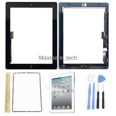 For iPad 3 Touch Screen Digitizer Glass Replacement Black With Home Button +Tool