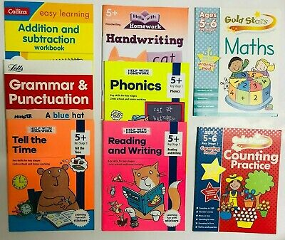 Home Education Easy Learning Set of 6 Numeracy Literacy Workbooks Kids Age 5-6