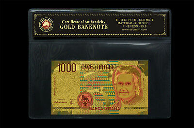 Italian Coa Note Set 24Kt Gold Limited Edition Coloured  Polymer Bank Note Set