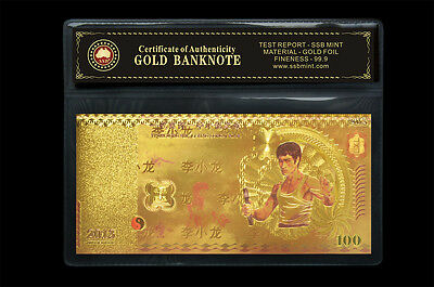 2013 Bruce Lee 100 Note Coa 24Kt Gold Limited Edition Coloured Polymer Bank Note