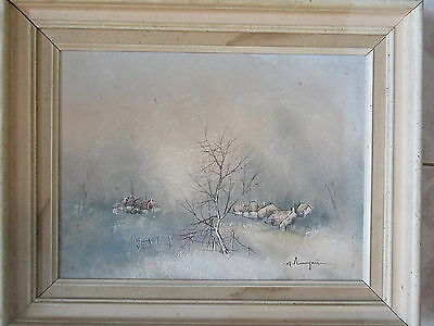 Old Vintage Oil on Canvas Painting Houses Tree in Winter Signed