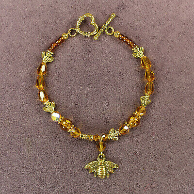 QUEEN HONEY BEE BRACELET Totem Bumble Flower Beads Gold Insect Goddess Beads