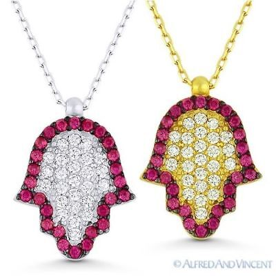 Hamsa Hand of Fatima Evil Eye Luck Charm Pendant Chain Necklace Sterling Silver