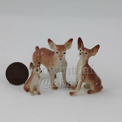 3 CHIHUAHUA Dog Puppy Family Set Ceramic Pottery Animal Miniature Figurine
