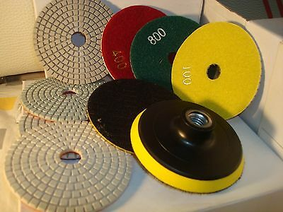 Diamond Polishing Pads 4 inch Wet/Dry 9 Piece Set Granite Stone Concrete Marble
