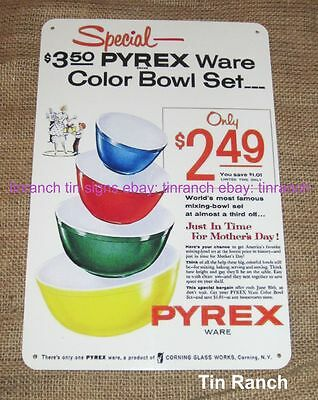retro PYREX BOWLS TIN SIGN new vintage KITCHEN mixing nesting set primary colors