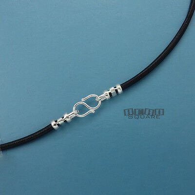 "Sterling Silver 2mm Round Genuine Leather Cord Necklace w/ S Hook Clasp [12-40""]"