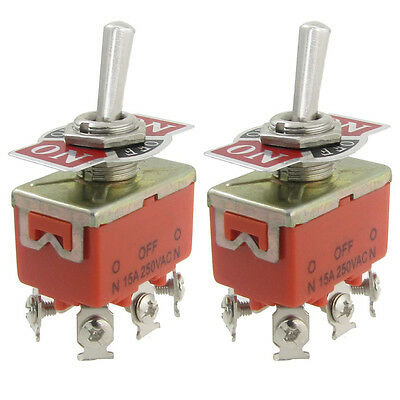 2Pcs  Metal Resin AC 250V 15A Amps ON/OFF/ON 3 Position DPDT Toggle Switch D2M