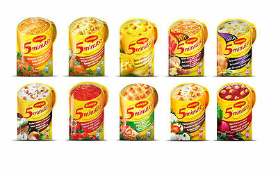 MAGGI 5 MINUTES Instant Soup CHICKEN TOMATO MUSHROOM CHEESE BACON NOODLES