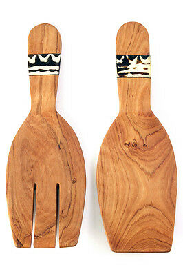 Wild Olive Wood and Dyed Bone Salad Claws Fork Spoon [Fair Trade Product]