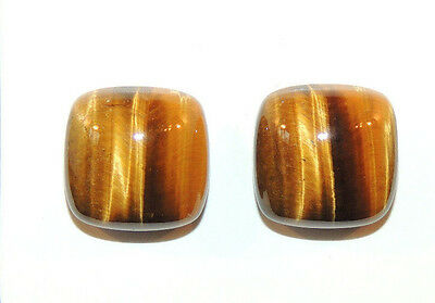 Tiger's Eye 13.5x13.5mm with 7mm dome Cabochons Set of 2 From Africa (9788)