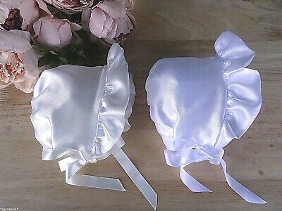 Baby Girl WHITE / CREAM Satin Frill Ribbon Bonnet Christening Hat Lined 0-3-6-12