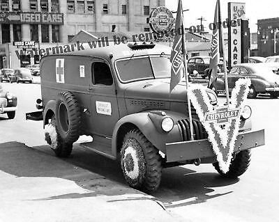 Photograph  WWII Chevy Victory Promotional Display Truck Detroit 1944c  8x10