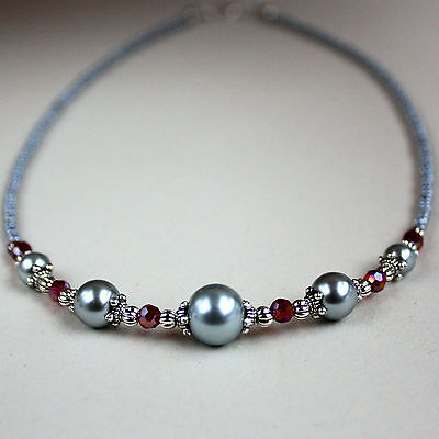 Light grey pearls red crystal vintage style silver collar choker beaded necklace