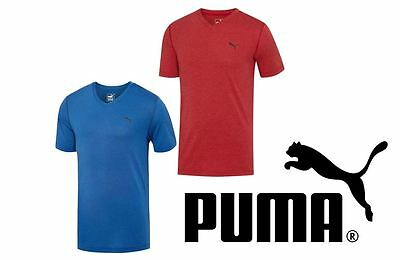 PUMA Men's Essentials V-Neck Tee 511693 Short Sleeve Blue Red Ideal T-Shirt S-2X
