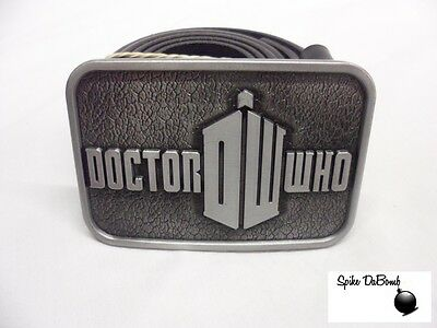 Awesome Doctor Who Grey 'dw' Tardis Buckle With Belt