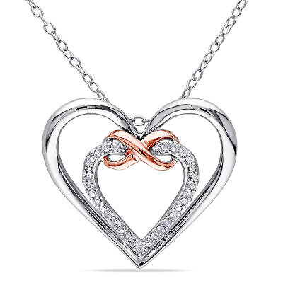 """Sterling Silver 1/10 Ct TW Diamond Double Heart Infinity Pendant Necklace I3 18"""""""