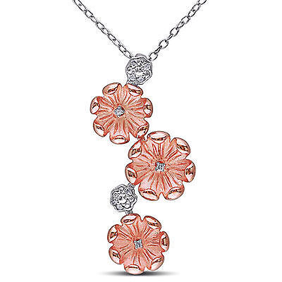 Amour Two-tone Sterling Silver Diamond Accent Flower Pendant Necklace 18""