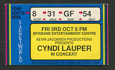1986 Cyndi Lauper Concert Ticket Stub Brisbane Australia True Colors Tour