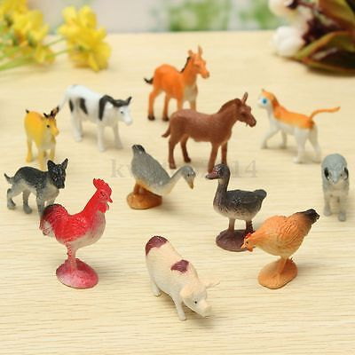12PCS Plastic Farm Yard Figure Pig Cow Horse Dog Animal Model Kids Playset Toy
