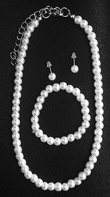 Child 3 Piece White Faux Pearl Necklace Wedding Jewelry Set Flower Girl Birthday