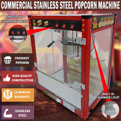 NEW 1350W Commercial Stainless Steel 8oz Popcorn Machine Cooker Tempered Glass