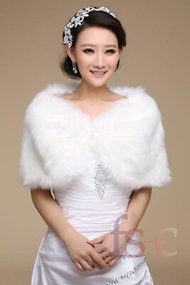 Wedding Bridal Faux Fur Wrap Shrug Stole Women's Ladies Warm Shawl White