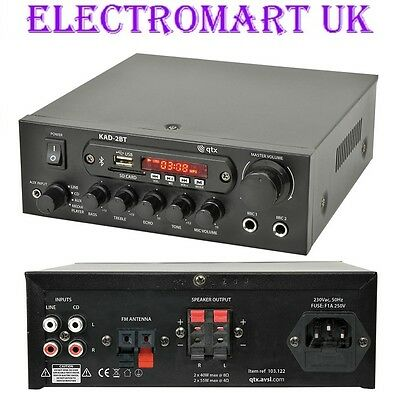 Bluetooth Digital Stereo Amp Amplifier With Fm Radio 55W Per Channel Mic Inputs