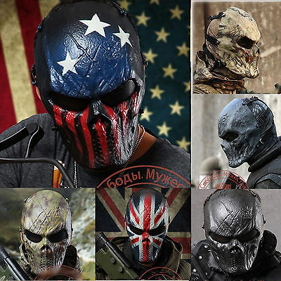 Airsoft Paintball Tactical Gear CS War Game Full Face Skull Mask Protection #GB