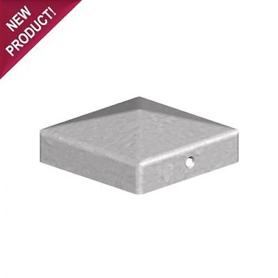 "10 x 100mm PYRAMID SQUARE GALVANISED METAL FENCE POST CAPS For 4"" 100mm POSTS"