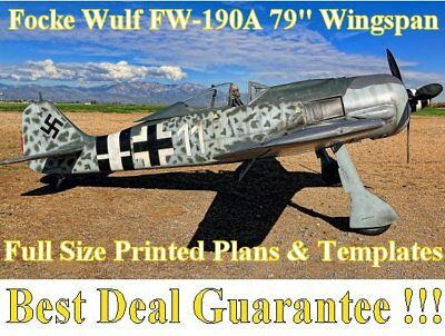 """Focke Wulf 190A 100"""" WS Giant Scale RC Airplane Printed Plans & Templates"""