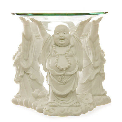 White Laughing Chinese Buddha Oil Burner Feng Shui Wealth 11cm Wax Melts