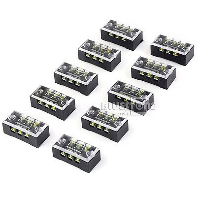 10pcs Block/Strip 3 Position 15A 600V Barrier Dual Row Terminal Multi Connector
