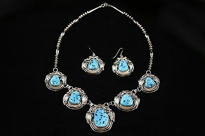 Navajo Sterling Silver Turquoise Necklace & Earring Set By Larry Chavez