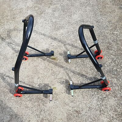 HEAVY DUTY MOTORCYCLE MOTORBIKE BIKE REAR &FRONT STAND, Free Flats and Hooks