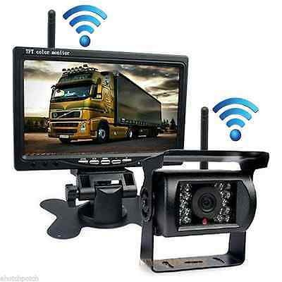 "Wireless Car 7"" TFT LCD Color Digital Monitor + 18 IR LED Night Rear View Camera"