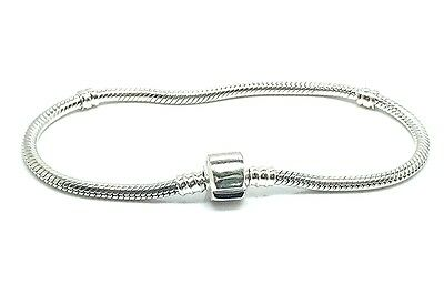 New Solid Sterling Silver 925 Snake Chain  European Charm Bead Bracelet
