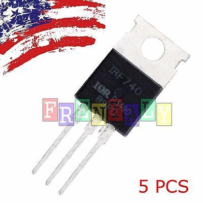 "5 PCS 5X IRF740 ""IR"" Power MOSFET N-Channel 10A 400V US SHIP"